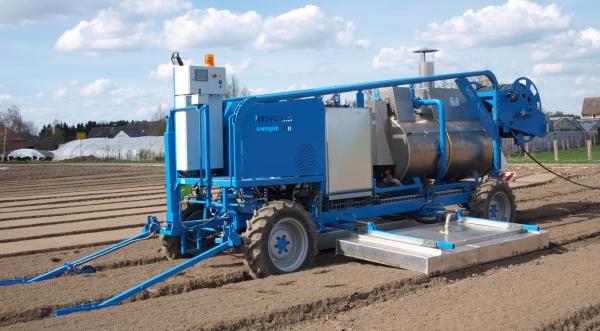 Vollautomatisches Dämpfmobil der MSD AG im Freilandeinsatz